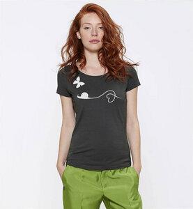 Schnecke und Schmetterling T-Shirt in Grau & Weiß für Frauen - Picopoc