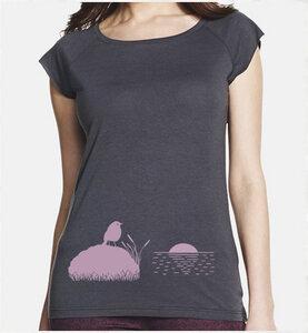 VOGEL BEI SONNENUNTERGANG / Grau / Bambus T-Shirt - Picopoc