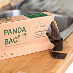 Kompostierbare Bio Müllbeutel (100 Stück | Braun | Tragegriff) - Planet Bamboo
