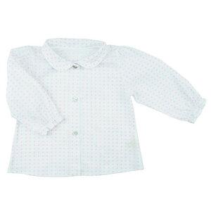Wunderschöne Bluse (weiß-rosa) mit kleinen zarten Kreisen (54572) - carl&lina