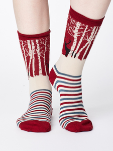 Winter Woodland Bamboo Socks - Red - Thought | Braintree
