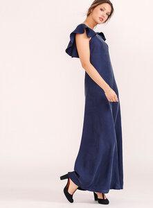 Langes Abendkleid Adriana aus Cupro vegan - l'amour est bleu