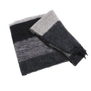 Indra - Plaid oder Wohndecke aus Nepal - schwarz grau gestreift - MoreThanHip