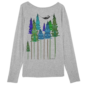 Longsleeve Damen Hellgrau Bio & Fair // Wood - FellHerz
