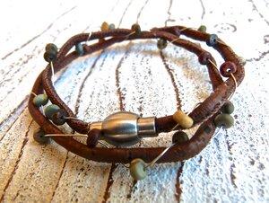 Damen Armband aus Kork vegan mit Jaspis - Charme-charmant