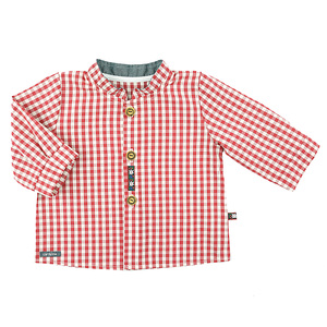 Klassisch schönes Jungenhemd (kirsche od. navy) mit Stehkragen (55580) - carl&lina