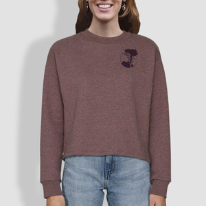 "Damen Sweatshirt, ""Überblick"", Black Heather Cranberry - little kiwi"