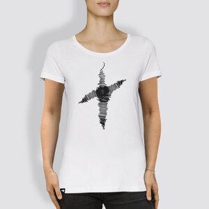 "Damen T-Shirt, ""Linienkreuz"", White - little kiwi"