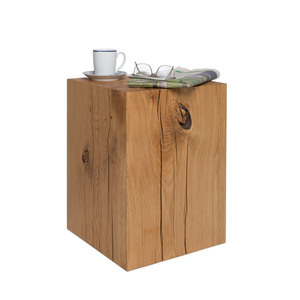 Holzblock Beistelltisch 36x36x50 cm Eiche massiv Holzklotz Couchtisch - GreenHaus