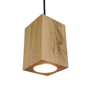 Hängelampe Holz Eiche Pendelleuchte Pendellampe 13x13x20 cm - GreenHaus