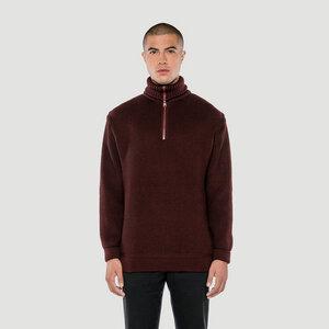 'Basic' Knit Troyer Burgundy - Rotholz