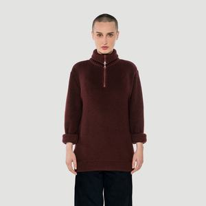 'Basic' Knit Troyer Burgundy - Rotholz