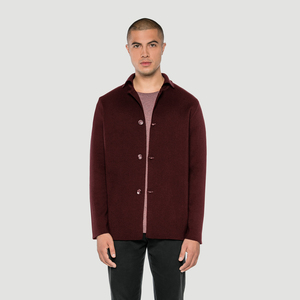 'Basic' Merino Knit Jacket Burgundy - Rotholz