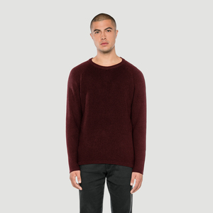'Basic' Merino-Knit Sweater Burgundy - Rotholz