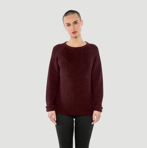 'Basic' Merino-Knit Sweater Burgundy - Rotholz