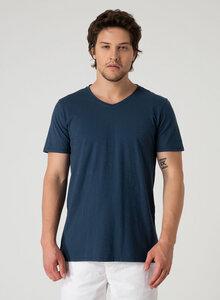 Basic V-Ausschnitt T-Shirt aus Bio Baumwolle in Slub Jersey - ORGANICATION