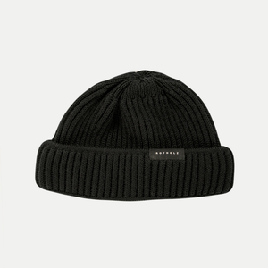 'Merino Knit Beanie Short' Black - Rotholz