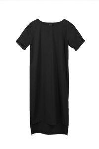 Kleid mit asymmetrischem Saum aus Bio-Baumwolle - Schwarz/Navy - LUXAA