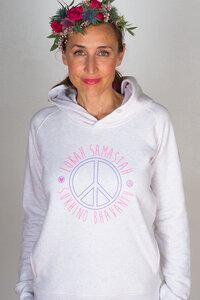 Yoga Hoodie 'PEACE' creme / rosa-blau - YogiCompany