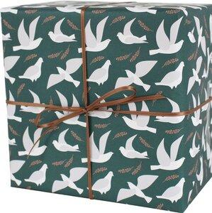 Recycling-Geschenkpapier Tauben meeresgrün - ava&yves