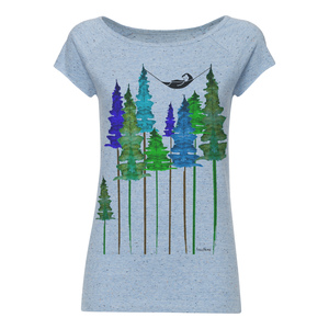 Damen T Shirt Wood Hellblau Bio Fair