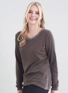 Sweatshirt mit aufwendigen Kontrast-Details an Kragen und Bund - ORGANICATION