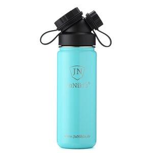 Exklusive JuNiki´s Trinkflasche aus Edelstahl Vakuum-isoliert 550ml/18oz – türkis-blau-weiß - JN JuNiki's