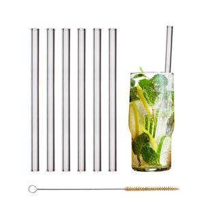HALM Strohhalm aus Glas 6x 20cm Glas-Trinkhalm Glas-Strohhalm + Bürste - HALM