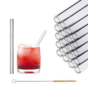 HALM Trinkhalm aus Glas 20x 15 cm Glastrinkhalm Glasstrohhalm + Bürste - HALM