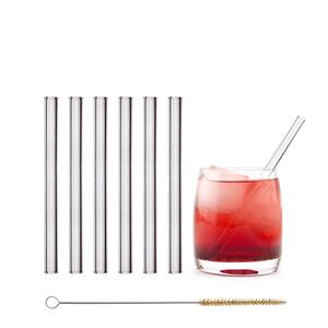 HALM Glasstrohhalme Trinkhalme 6x 15 cm (gerade) + Reinigungsbürste - HALM
