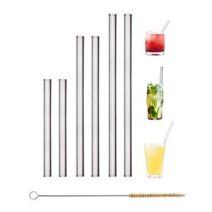HALM Glas-Strohhalme 6er Set 2x23 + 2x20 + 2x15cm Trinkhalm + Bürste - HALM