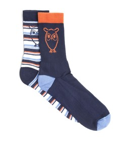Tennis Striped Sock 2-Pack Total Eclipse - KnowledgeCotton Apparel