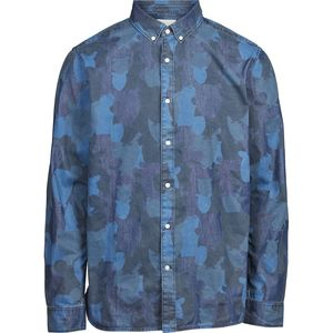 Hemd - Camouflage owl printed denim chambrey shirt - Washed Blue Denim - KnowledgeCotton Apparel