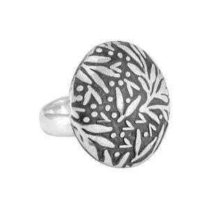 Ring Silber rund florales Blattmuster Herbst handmade fein Fair-Trade - pakilia