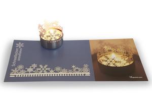 Weihnachten Windlicht Schattenspiel, Edelstahl Aufsatz inkl. Karte - 13gramm