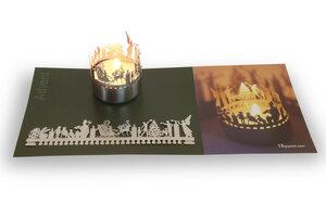 Krippe Windlicht Schattenspiel, Edelstahl Aufsatz inkl. Karte - 13gramm