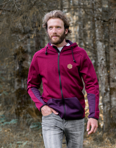 Wollhoody 'Josef bordeaux, navy und neon'  - Zerum