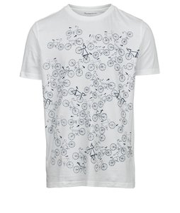 T-shirt with bike front print – GOTS Bright White - KnowledgeCotton Apparel