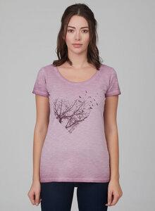 Damen Garment Dyed Tshirt vorne mit Herz-Druck - ORGANICATION