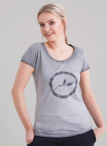 Damen Garment Dyed Tshirt vorne mit Logo-Druck - ORGANICATION