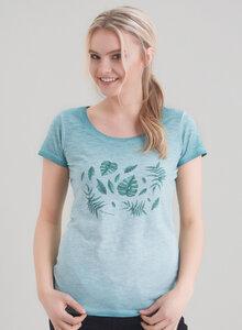 Damen Garment Dyed Tshirt vorne mit romantischen Blatt-Druck - ORGANICATION