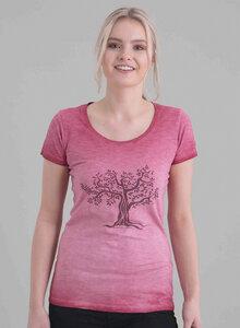 Damen Garment Dyed Tshirt vorne mit Baum-Druck - ORGANICATION