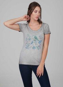 Damen Garment Dyed Tshirt mit Vogel-Druck - ORGANICATION