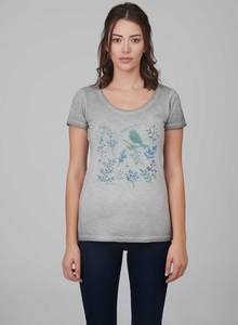 Damen Garment Dyed Tshirt mit Vogel-Druck - ORGANICATION
