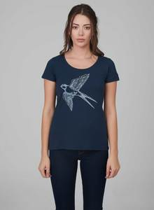 Damen Tshirt vorne mit Vogel-Druck - ORGANICATION