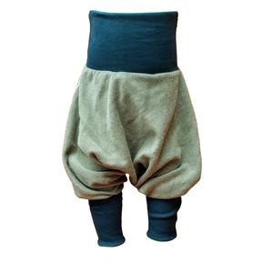 Yogahose Pumphose Bio Sweat meliert grün/dunkelgrün, braun/beige - liebewicht