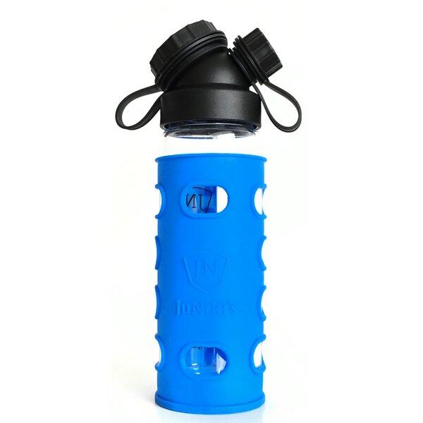 jn juniki 39 s set juniki s glasflasche 550ml 18oz 2 silikonh llen blau gr n oder lila. Black Bedroom Furniture Sets. Home Design Ideas