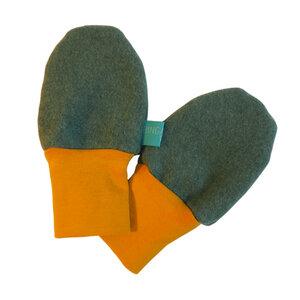 Baby Fleece-Handschuhe grün-meliert/senfgelb - bingabonga®