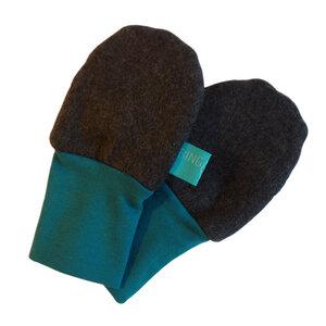 Baby Fleece-Handschuhe anthrazite/smaragd - bingabonga®