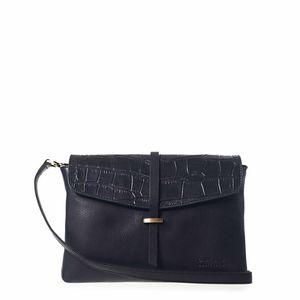 Umhängetasche - Ella Midi - Midnight Black/Kroko - O MY BAG